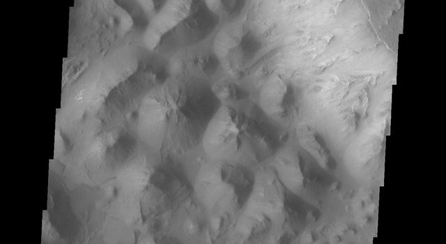 At the eastern end of Valles Marineris the chasma floors are typically filled with the hills and mounds of chaos terrain as seen by NASA's Mars Odyssey.