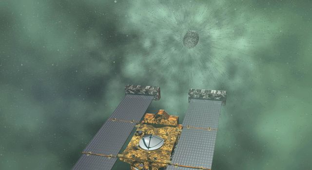 Artist concept of NASA's Stardust-NExT mission, which will fly by comet Tempel 1 on Feb. 14, 2011.