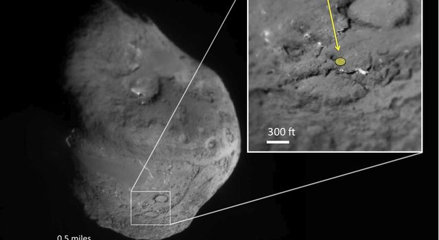 This pair of images shows the area affected by the impactor released by NASA's Deep Impact spacecraft in July 2005.