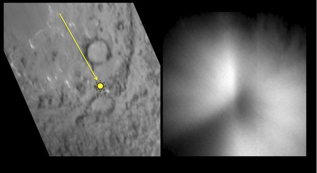 This pair of images shows a before-and-after comparison of the area on comet Tempel 1 targeted by an impactor from NASA's Deep Impact spacecraft in July 2005.