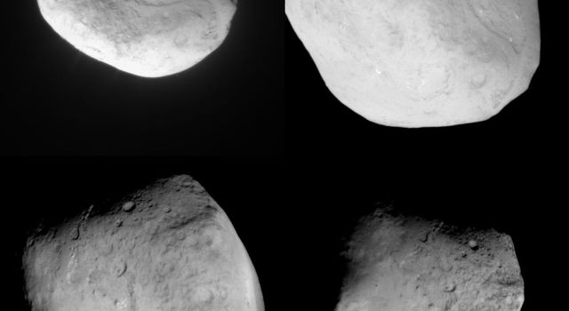 This image mosaic shows four different views of comet Tempel 1 as seen by NASA's Stardust spacecraft as it flew by on Feb. 14, 2011. The images progress in time beginning at upper left, upper right, to lower left, then lower right.