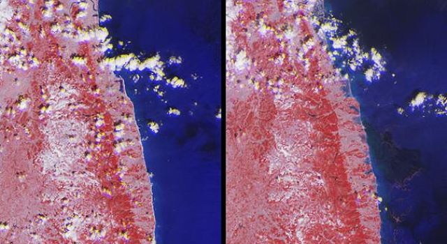 The extent of inundation from the destructive and deadly tsunami triggered by the March 11, 2011, magnitude 8.9 earthquake centered off Japan's northeastern coast  east of the city of Sendai is revealed in this image pair from NASA's Terra spacecraft.