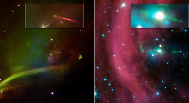 This image layout shows two views of the same baby star from NASA's Spitzer Space Telescope. Spitzer's view shows that this star has a second, identical jet shooting off in the opposite direction of the first.