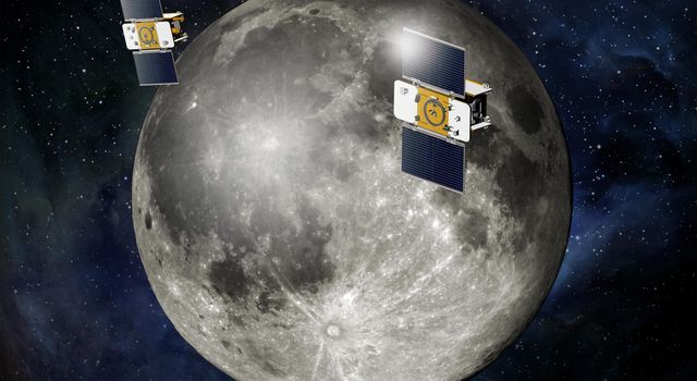 Using a precision formation-flying technique, NASA's twin GRAIL spacecraft will map the moon's gravity field. This is an artist's concept.