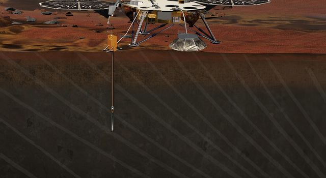 This artist rendition is of the Interior exploration using Seismic Investigations, Geodesy and Heat Transport (InSight) Lander. InSight proposes to place a single geophysical lander on Mars to study its deep interior.