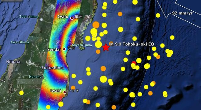 This radar image from ESA's Envisat depicts ground displacements resulting from the March 11, 2011, magnitude 9.0 Tohoku earthquake in Japan.
