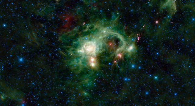 In the Perseus spiral arm of the Milky Way galaxy, opposite the galactic center, lies the nebula SH 2-235. As seen in infrared light, NASA's Wide-field Infrared Survey Explorer reveals SH 2-235 to be a huge star formation complex.