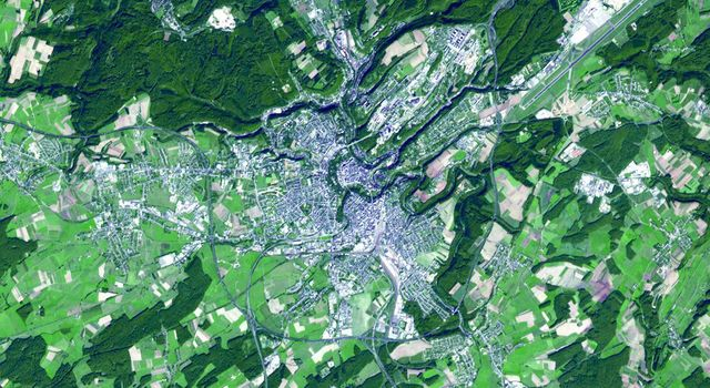 NASA's Terra spacecraft acquired this image of the City of Luxembourg, one of Europe's greatest fortified states. With a population of about 90,000, the city is the capital of the Grand Duchy of Luxembourg.