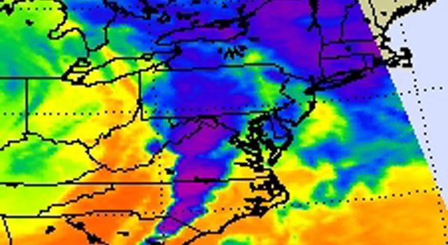 NASA's Aqua satellite captured an infrared image of the storms on April 16, 2011 showing very cold, high cloud tops of the strong thunderstorms that spawned tornadoes in North Carolina and Virginia.
