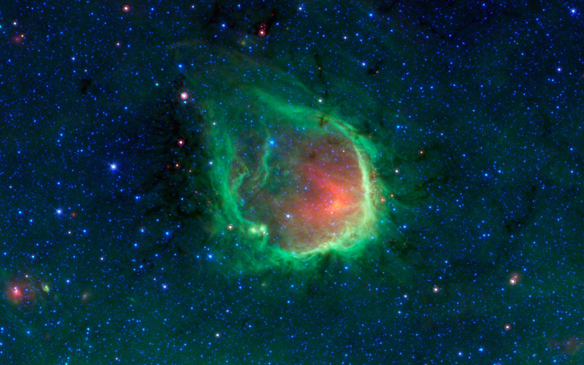 Space images in the blackest night a green ring nebula - Spitzer space telescope wallpaper ...