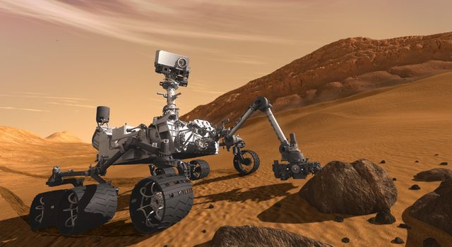 This artist concept features NASA's Mars Science Laboratory Curiosity rover, a mobile robot for investigating Mars' past or present ability to sustain microbial life. The rover examines a rock on Mars with a set of tools at the end of the rover's arm.