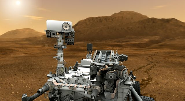 "This artist concept features NASA's Mars Science Laboratory Curiosity rover. The mast, or rover's ""head,"" rises to about 2.1 meters (6.9 feet) above ground level, about as tall as a basketball player."