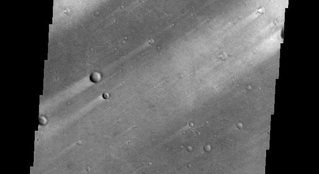 This image from NASA's 2001 Mars Odyssey shows windstreaks mark the plains of northern Terra Sabaea.