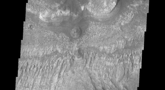 Layering is evident in this deposit on the floor of Ganges Chasma. This image is from NASA's 2001 Mars Odyssey.