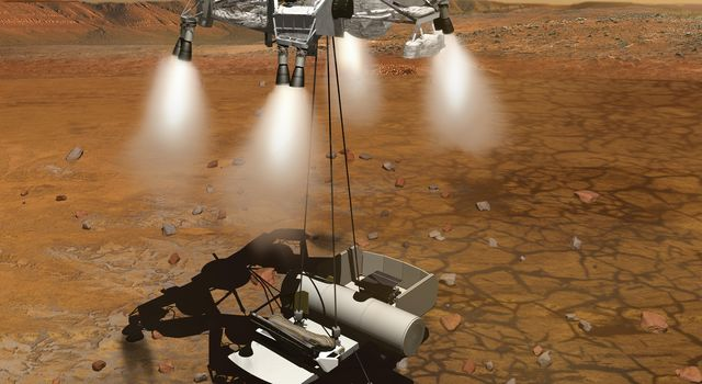 This artist's concept of a proposed Mars sample return mission portrays a rocket-powered descent stage lowering a sample-retrieving rover and an ascent vehicle to the surface.