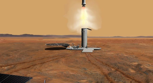 This artist's concept of a proposed Mars sample return mission portrays the launch of an ascent vehicle. The solar panels in the foreground are part of a rover.