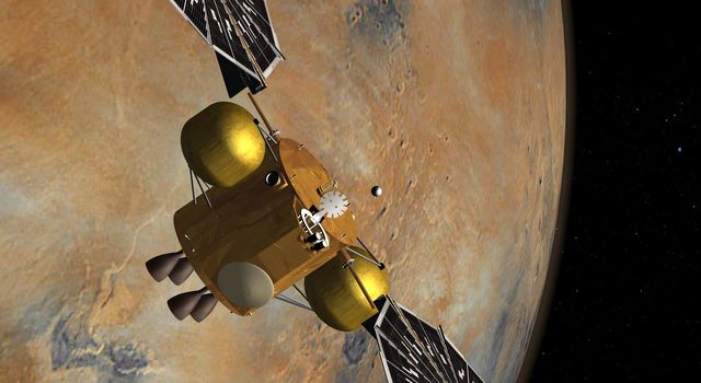 This artist's concept of a proposed Mars sample return mission portrays the capture of a collection of Martian samples by a spacecraft orbiting Mars. The samples would have been collected on Mars by a rover and lifted to orbit by an ascent vehicle.