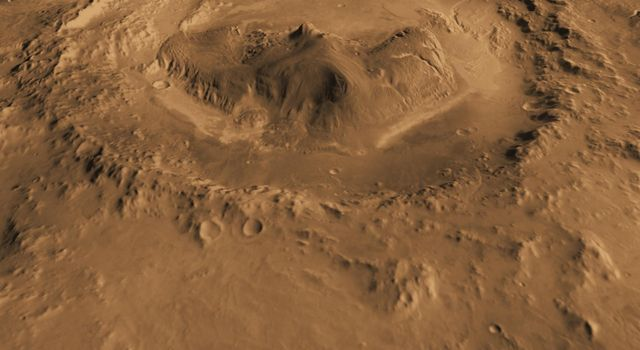 This computer-generated view based on multiple orbital observations shows Mars' Gale crater. NASA is considering Gale as a possible landing site for the Mars Science Laboratory mission.
