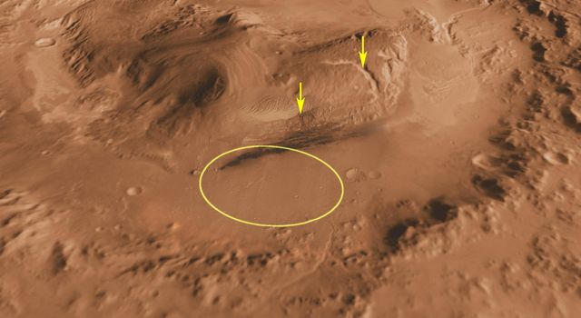 Canyons on Mountain Inside Gale Crater