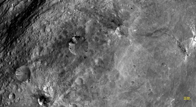 In this image, obtained by the framing camera on NASA's Dawn spacecraft, various craters are visible in the southern equatorial region of the giant asteroid Vesta.