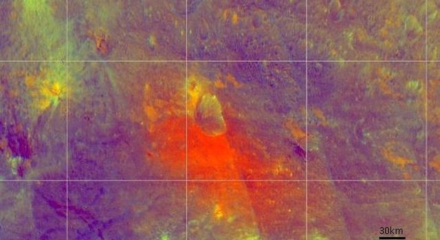 This false-color image from NASA's Dawn spacecraft is of the of the giant asteroid Vesta. Scientists are studying image like these to better understand the different materials on the surface.
