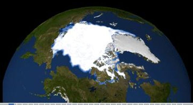 Observations from NASA satellites show that Arctic sea ice is now declining at a rate of 11.5 percent per decade, This image was created by the NASA/Goddard Scientific Visualization Studio.