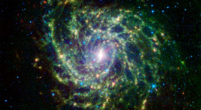 Looking like a spider's web swirled into a spiral, galaxy IC 342 presents its delicate pattern of dust in this infrared light image from NASA's Spitzer Space Telescope. The very center glows especially brightly in the infrared.