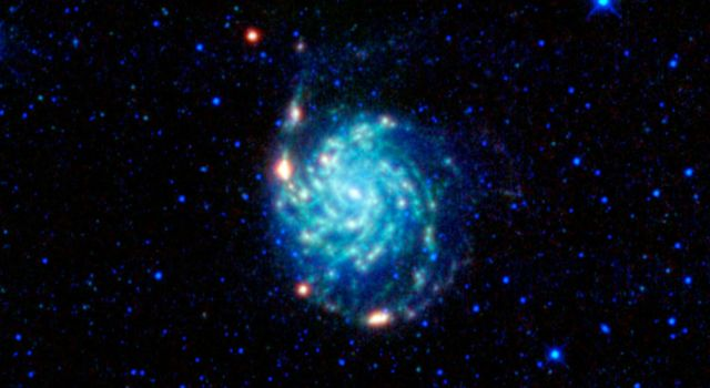 A large spiral galaxy dominates this view from NASA's Wide-field Infrared Survey Explorer. The galaxy, often called the Pinwheel galaxy, was designated object 101 in astronomer Charles Messier's catalog of fuzzy things in the sky that are not comets.