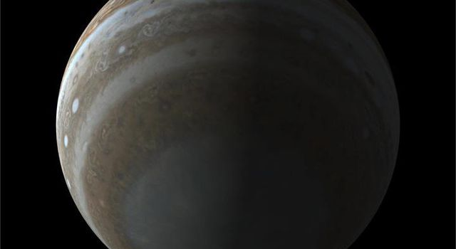 This simulated view of the south pole of Jupiter illustrates the unique perspective of NASA's Juno mission. Juno's polar orbit will allow its camera, called JunoCam, to image Jupiter's clouds from a vantage point never accessed by other spacecraft.
