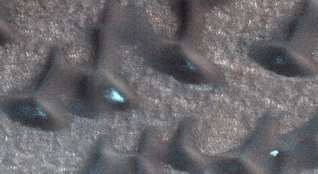 These dark sand dunes in the North polar region, basking in the sunshine of late spring, have shed most of their seasonal layer of winter ice in this image from NASA's Mars Reconnaissance Orbiter.