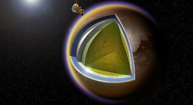 This artist's concept shows a possible model of Titan's internal structure that incorporates data from NASA's Cassini spacecraft. A model of Cassini is shown making a targeted flyby over Titan's cloudtops; Saturn and Enceladus appear at upper right.