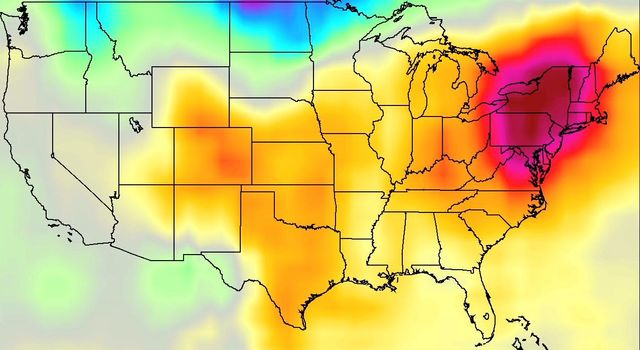 NASA's Aqua spacecraft has illustrated surface air and skin temperature for the period from July 16-24, showing movement of a dome of heat across the eastern two-thirds of the country. See More Details for the movies.