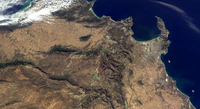 This image of Western Cape, South Africa was acquired by the Multi-angle Imaging SpectroRadiometer (MISR) instrument aboard NASA's Terra spacecraft. This image is from the MISR Mystery Image Quiz #25.