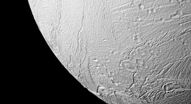 NASA's Cassini spacecraft takes a close view of some of the southern terrain of Saturn's moon Enceladus, where newly created terrain is on display.