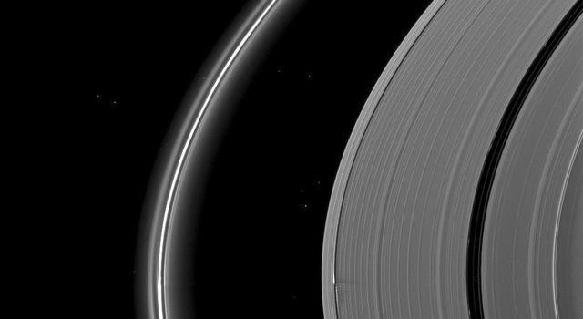 NASA's Cassini spacecraft catches Saturn's moon Daphnis making waves and casting shadows from the narrow Keeler Gap of the planet's A ring in this view taken around the time of Saturn's August 2009 equinox.