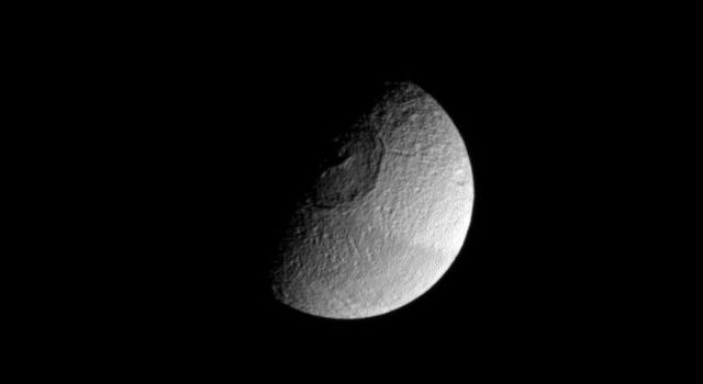 Although Mimas holds the unofficial designation of 'Death Star moon,' Tethys is seen here also vaguely resembling the space station from Star Wars. Apparently, Tethys doesn't want Mimas to have all the fun!