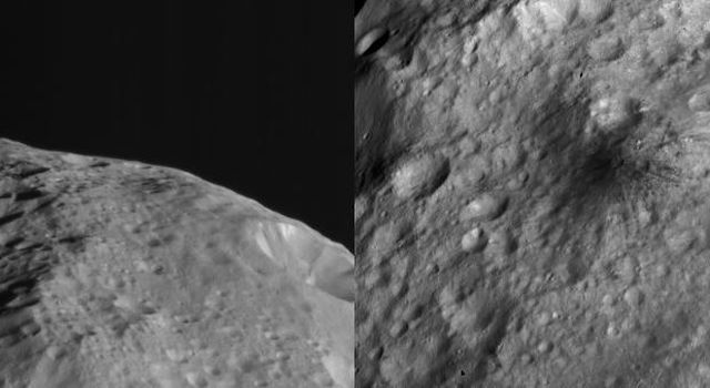 NASA's Dawn spacecraft obtained these side-by-side views of a dark hill of the surface of asteroid Vesta with its framing camera on August 19, 2011. The images have a resolution of about 260 meters per pixel.