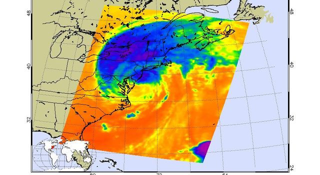This infrared image of Hurricane Irene from the AIRS instrument on NASA's Aqua spacecraft, was taken at 2:47 a.m. EDT on Aug. 28. The storm's coldest cloud top temperatures and intense rains are shown in purples and blues.