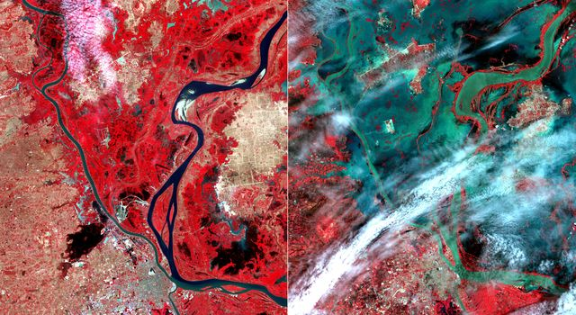 This image acquired by NASA's Terra spacecraft shows unusually heavy rains over the upper Mekong River in Laos and Thailand that led to severe flooding in Cambodia in mid-August 2011. The city of Phnom Penh is at the bottom center of the image.