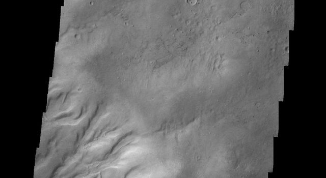 Gullies dissect the rim of this unnamed crater on the northern margin of Argyre Planitia in this image from NASA's 2001 Mars Odyssey spacecraft.