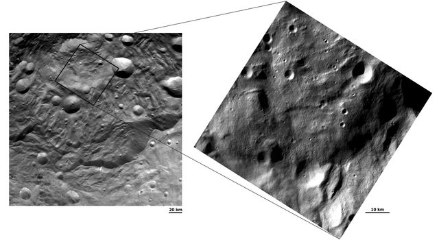 NASA's Dawn spacecraft obtained these images with its framing camera on Aug.17 and Sept.17, 2011. The left hand image shows scarps, mostly near the bottom. The right hand image is a close up, higher resolution view of a large part of the raised mound.