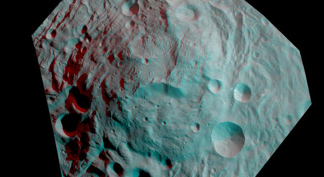 This anaglyph image shows the topography of the mountain-central complex in asteroid Vesta's south polar region. You need 3D glasses to view this image.