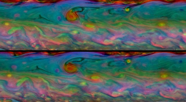 These two false-color views from NASA's Cassini spacecraft show detailed patterns that change during one Saturn day within the huge storm in the planet's northern hemisphere.
