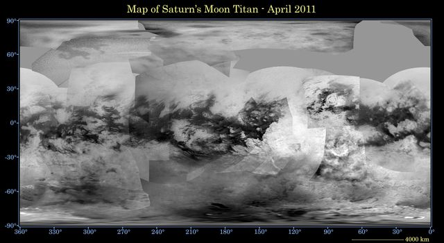 This global digital map of Saturn's moon Titan was created using images taken by NASA's Cassini spacecraft's imaging science subsystem (ISS). Because of the scattering of light by Titan's dense atmosphere, no topographic shading is visible here.