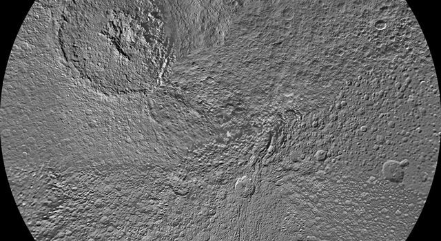The northern hemisphere of Tethys is seen in this polar stereographic map, mosaicked from the best-available images from NASA's Cassini spacecraft.