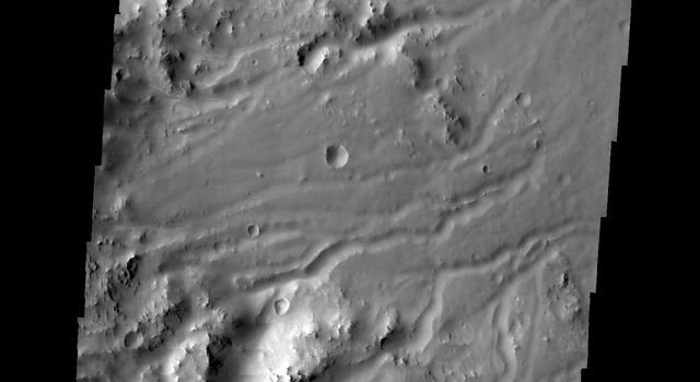 Multiple channels dissect the rim of Bakhuysen Crater in Noachis Terra in this image captured by NASA's 2001 Mars Odyssey spacecraft.