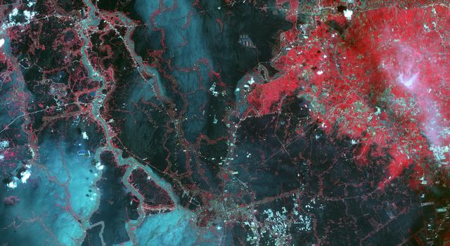 On Oct. 23, 2011, when this image from NASA's Terra spacecraft was acquired, flood waters were approaching the capital city of Bangkok as the Ayutthaya River overflowed its banks.