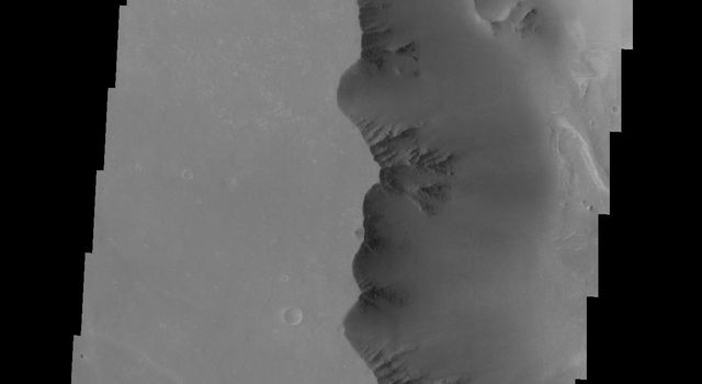 Dark slope streaks are a common feature in Noctis Labyrinthus as seen in this image captured by NASA's 2001 Mars Odyssey spacecraft.