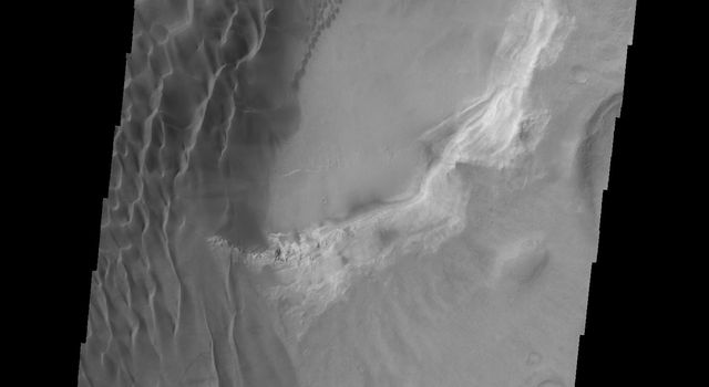 This image captured by NASA's 2001 Mars Odyssey spacecraft shows part of the dunes on the floor of Rabe Crater.