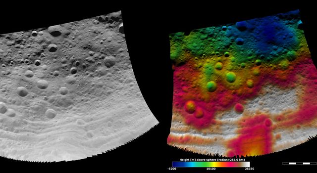 These images from NASA's Dawn spacecraft show part of asteroid Vesta's equatorial region, which contains impact craters and troughs (linear depressions).